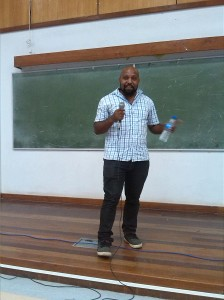 Co-Founder of Humans of Papua New Guinea Nick talking to students